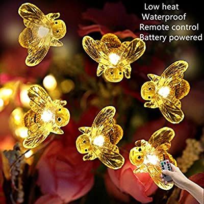 Bee-Decorative-String-Lights-Battery-Operated-Novelty-Light-with-Remote-Control-Indoor-and-Outdoor-Holiday-Party-Garden-Courtyard-Decorations-(Warm-White-13.5-Ft-40-LED)