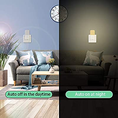 Plug-in-Dimmable-LED-Night-Light-with-Smart-Dusk-to-Dawn-Sensor,-Energy-Efficient-Lamp-for-Midnight-Convenience,-Bedroom,-Kids'-Room,-Kitchen,-Hallway,-Stairway,-4-Pack