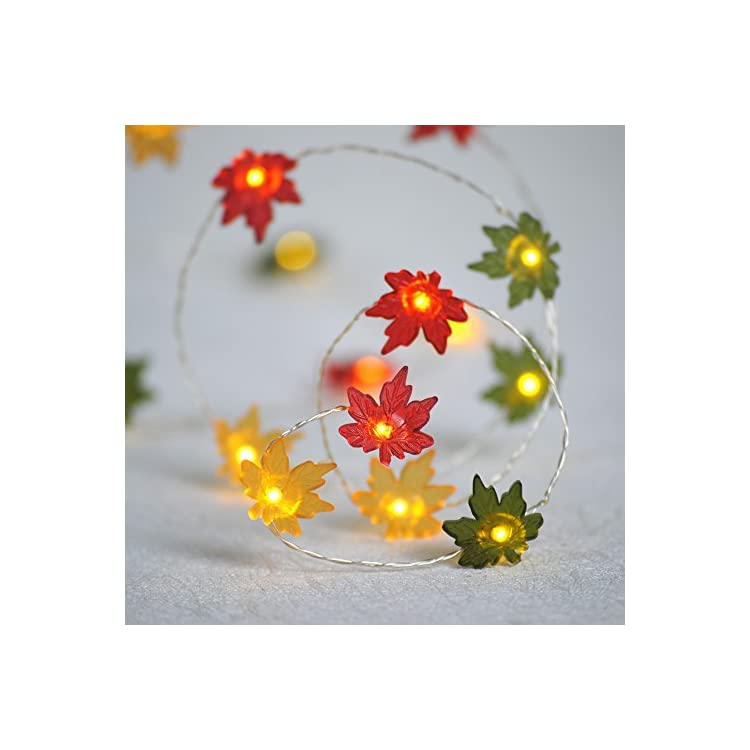 Christmas-Decor-String-Lights,-10ft-40LED-Maple-Leaf-Fairy-Light-Silver-Wire-Battery-Operated-with-Remote-for-Thanksgiving-Harvest-Festival,-Seasonal-Porch-Bedroom-Garlands-Centerpiece
