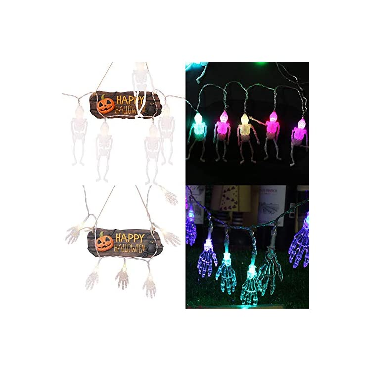ChangSheng-Set-of-2-Colorful-Halloween-String-Lights(10-LEDs-Skeleton,20-LEDs-Ghost-Hand),-String-Light-for-Halloween-Decorations-Outdoor-&-Indoor