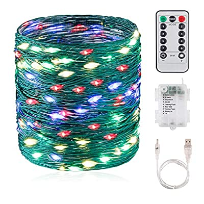 33ft-LED-String-Lights,-Waterproof-Outdoor-Indoor-Decorative-Lights-with-100-LEDs,-USB-Battery-Powered,-Green-Nylon-Copper-Wire-with-Remote-Control-for-Room,-Patio,-Wedding,-Christmas-Party