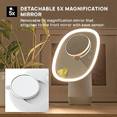 Makeup-Mirror-with-Humidifier-and-5X-Portable-Magnifying-Vanity-Mirror,-68-LED-Lighting-with-3-Light-Settings,-Dimmable-Lighting,-360-Degrees-Rotation-(White)
