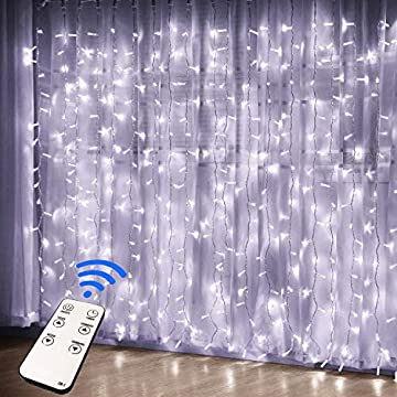 Remote-Control-300-LED-Window-Curtain-String-Light-for-Wedding-Party-Home-Garden-Bedroom-Outdoor-Indoor-Wall-Decorations-(White)