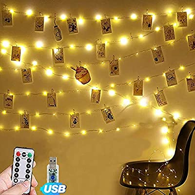 Photo-Clip-String-Lights-17Ft---50-LED-Fairy-String-Lights-with-Remote,8-Modes-Indoor-String-Lights-for-Hanging-Photos-Pictures-and-Memos,-Ideal-Gift-for-Bedroom-Decoration-(USB-Operated,Warm-White)
