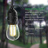 ISRAMP-Outdoor-String-Lights-Dimmable,-Pro-Waterproof-4W-LED-Edison-Bulbs-48Ft-Patio-Hanging-Lights-with-15-Socket,-Backyard-Party-Decor-Commercial-Grade-Outdoor-Lighting-Fixtures