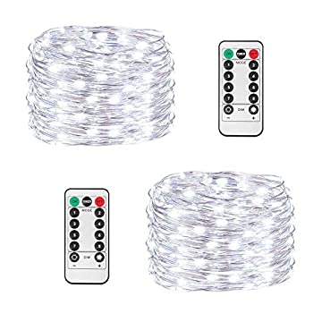 2-Pack-String-Lights-8-Modes-Timer-Remote-Control-Fairy-String-Light-200-LED-65.6ft-Battery-Operated-Waterproof-Dimmable-Copper-Wire-Lights-for-Christmas,-Room,-Wedding-(200LED-White)