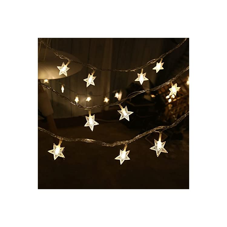40-LED-Original-Star-String-Lights-for-Patio-Garden-Holiday-Gardens,-Homes,-Wedding,-Mother's-Day-Party-and-Holiday-Decor-(Warm-White-Light)