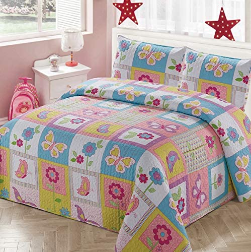 Collection-2-Piece-Twin-Size-Quilt-Coverlet-Bedspread-Bedding-Set-for-