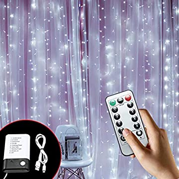 LED-Curtain-String-Lights,9.8x9.8Ft-300LEDs-3xAA-Batteries/USB-Operated,-8-Modes-Twinkle-Lights-with-Remote-Control-for-Outdoor/Indoor-Bedroom,Garden,Christmas-Tree-Decoration-(White)