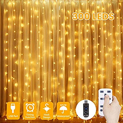 Curtain-Lights,-300-LED-Window-Curtain-String-Lights,-8-Modes-with-Remote-&-Timer-2/4/6/8h-Fairy-String-Lights-for-Bedroom-Wedding-Party-Christmas-Outdoor-Indoor-Wall-Decoration-USB-(Warm-White)