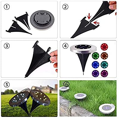 Solar-Disk-Lights-Outdoor,-8-LED-Bulbs-Solar-Ground-Lights-Outdoor-Wat