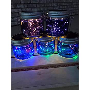 Ayven-Hanging-Solar-Garden-Lanterns.-Blue-Jars,-Multi-Color-Lights/6-P