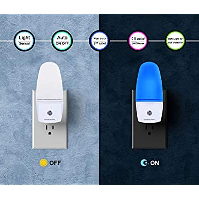 Plug-in-Light-Sensor-LED-Blue-Night-Light-for-Bathroom,-Kitchen,-Hallway-2-Pack,-0.5W