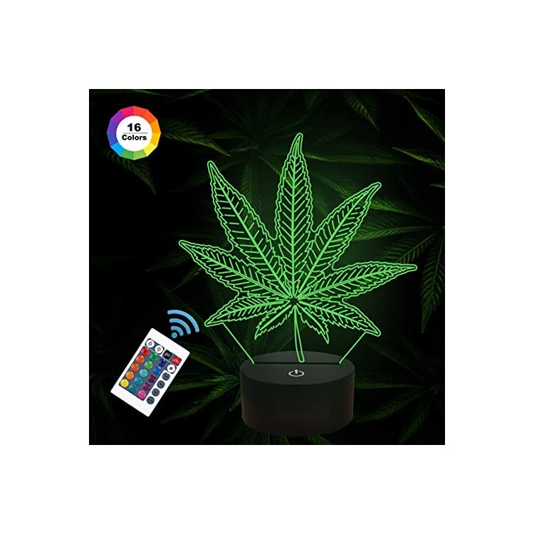 3D-Night-Lights,-Cannabis-Leaf-Illusion-Lamp-with-Smart-Touch-7-Colors