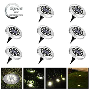Solar-Ground-Lights-8-LED-Solar-Disk-Lights-Garden-Pathway-Outdoor-in-