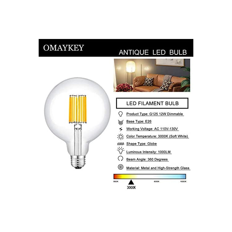 12W-Dimmable-Large-LED-Globe-Bulb-100W-Equivalent-1000LM,-3000K-Soft-White-E26-Medium-Base,-Vintage-Edison-G125-Large-Globe-Clear-Glass-LED-Filament-Light-Bulb,-Deep-Dimming-Version