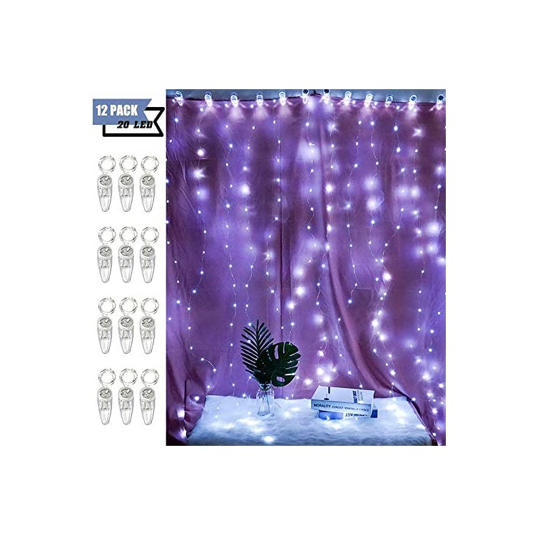 Fairy-String-Lights-with-Clip-Battery-Operated,-12-Pack-20-LED-Upgraded-Starry-Wire-Lights-for-Curtain-Window-Tapestry-Halloween-Decor-(Cool-White)