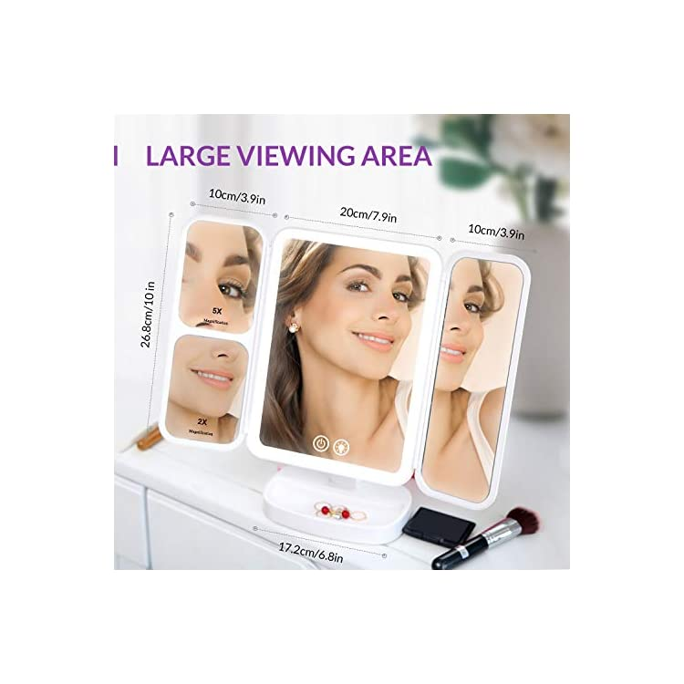 Makeup-Vanity-Mirror-Rechargeable-with-3-Color-66-LEDs-Lights-Cosmetic-Beauty-Portable-Trifold-2x/5x/10x-Magnifying-Touch-Screen-180°-and-90°-Rotation-Tabletop-Desk-Face-Mirror-Version-4