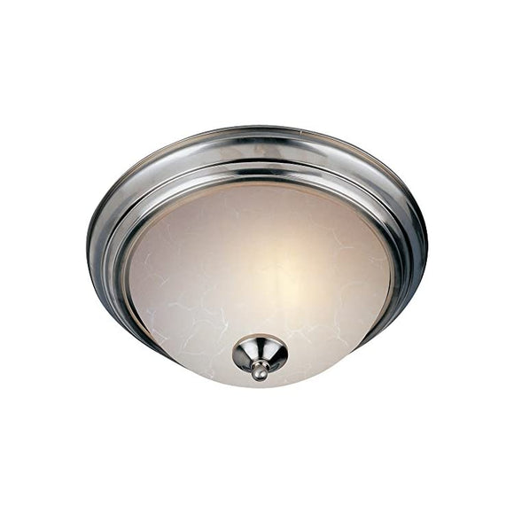 Maxim-5842ICSN-Essentials-3-Light-Flush-Mount,-Satin-Nickel-Finish,-Ice-Glass,-MB-Incandescent-Incandescent-Bulb-,-8W-Max.,-Dry-Safety-Rating,-3000K-Color-Temp,-Standard-Triac/Lutron-or-Leviton-Dimmable,-Halophane-Glass-Shade-Material,-560-Rated-Lumens
