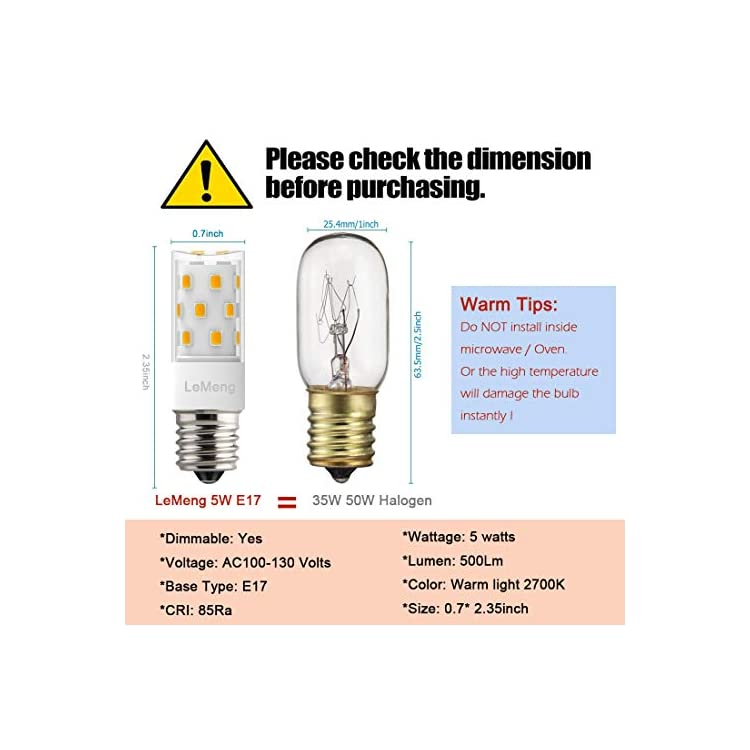LeMeng-E17-LED-Bulb,-Dimmable,-5W-500lm-Warm-White-2700K,35-50watt-Halogen-Replacement,AC-120V-Appliance-Bulbs-Microwave-Oven-Stovetop-Light,6-Pack