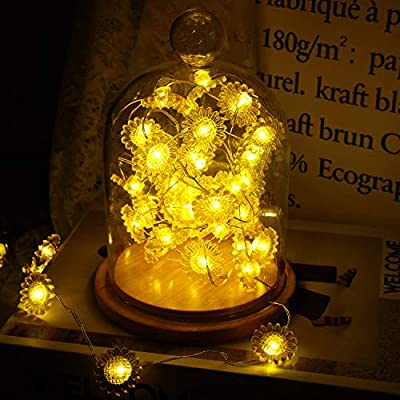 2-Pieces-Sunflowers-String-Lights-String-Lights-Decoration-Sunflower-Helianthus-String-Lights-with-Remote-Control-for-Garden,-Patio,-Mantle,-Wreath-Memorial-Day(2-Meter/20-Lights,-3-Meter/40-Lights)