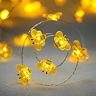 Fall-Decorations-String-Lights,-Honey-Bee-Flexible-silver-Wire-10-ft-40-LED-Battery-Operated-with-Dimmer-Timer-Remote-Control-for-Covered-Outdoor,-Indoor,-Wedding,-Autumn,-Birthday-Partie