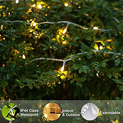 Upgraded-Extendable-200-LED-String-Lights,-69ft-Long-with-Timer-and-Plug,-Indoor-and-Outdoor-LED-String-Lights-for-Patio,-Clear-Wire,-Waterproof,-Warm-White-(END-to-END-CONNECTABLE)