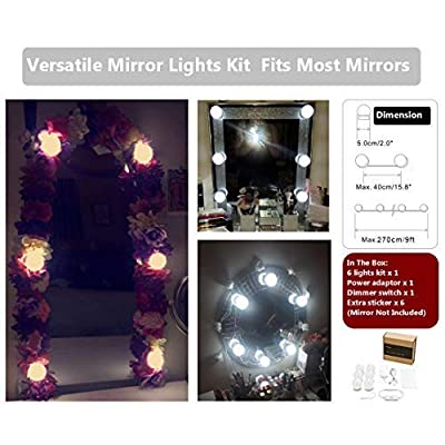Hollywood-Vanity-Lights-for-Lighted-Makeup-Mirror-Dressing-Table-DIY-LED-Lighting-Strip-Stick-on-Plug-in-with-Dimmer-and-Power-Supply,-6-Light-/-9-FT,-Mirror-Not-Included