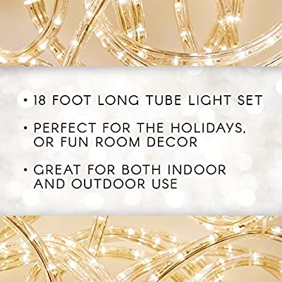 18'-Long-Rope-Light-Set-–-216-Bright-Lights-for-Indoor-or-Outdoor-Use-–-Flexible-Clear-Tube-Light-Makes-Decorating-Fast-and-Easy-–-Connect-Up-to-16-Sets-–-36-Watts,-120V-(1-18'-Piece-Per-Pack)