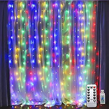 300-LED-Window-Curtain-Lights,USB-Power-Icicle-Fairy-Lights,IP64-Waterproof-&-8-Modes-Twinkle-Lights,with-Remote-Timer-Indoor-String-Lights-for-Parties,Bedroom,Wall-Decoration(9.8ft-x-9.8ft,Colorful)