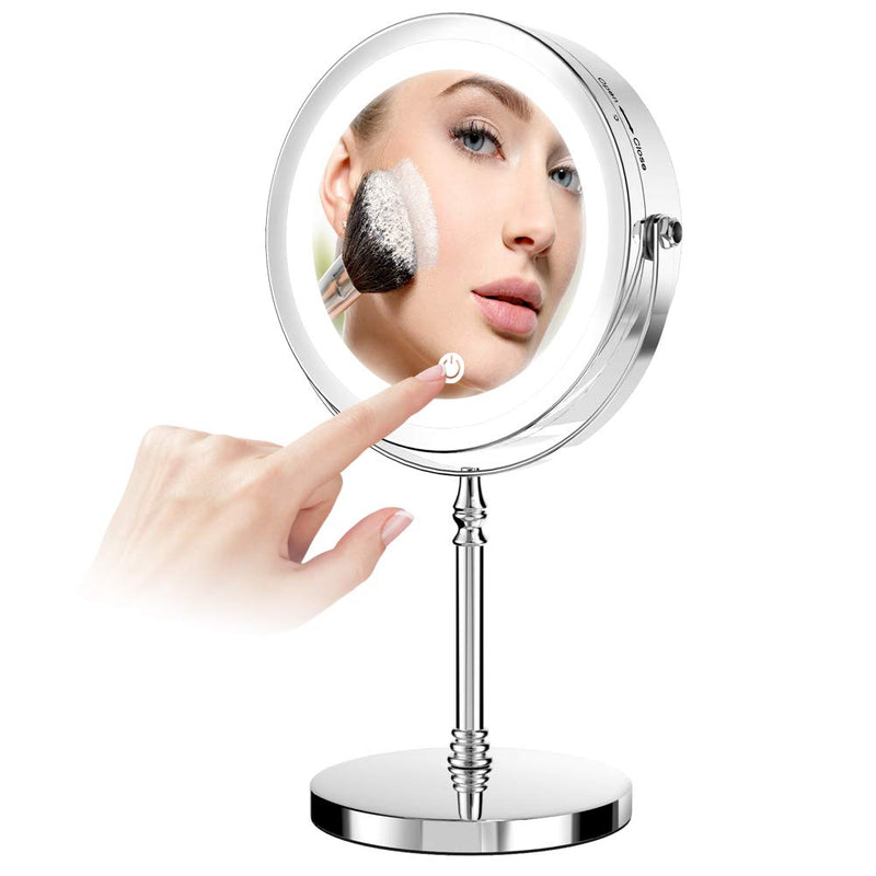 Led-Makeup-Mirror,7-inch-Double-Sided-1x-/10x-Magnification-Desktop-Va