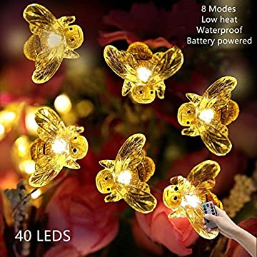 Bee-Decorative-String-Lights-13.5ft-Battery-Operated-Waterproof-Light-with-Remote-Control,-40-LEDs-Warm-White-for-Indoor,-Covered-Outdoor,-Holiday-Parties,-Garden,-Patio-Plants-Shelf-Decorative