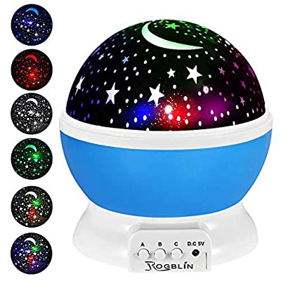ROGBLIN-Moon-Star-Projector,Baby-Night-Lights,-Romantic-LED-Night-Light,-360-degree-Rotating-4-LED-Bulbs,Suitable-for-Parties,-Children's-bedrooms-or-to-be-Christmas-Gifts.