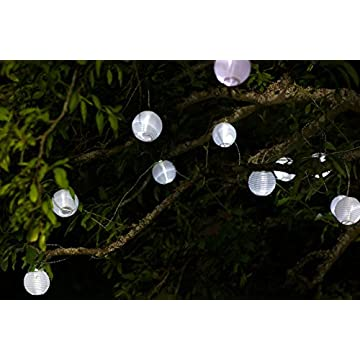 Home-and-Garden-Soji-Solar-String-Lights,-Globe-Style-LED-Outdoor-Solar-Lanterns,-Handmade-with-Weather-Resistant-UV-Rated-Fabric,-for-Decks,-Gardens,-Gazebos,-Weddings,-Mini-Chinese-Style-Lights,-(White)