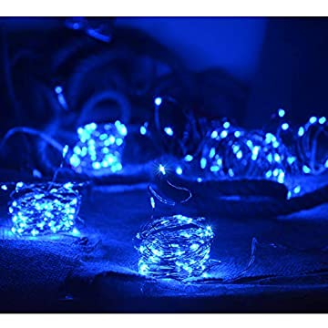 Blue-Fairy-Lights-Battery-Operated,-4Pack-50LED-Copper-Wire-String-Lights,-Mini-Indoor-Fairy-String-Lights-for-Bedroom,-Christmas-Halloween-Parties-Wedding-Decoration