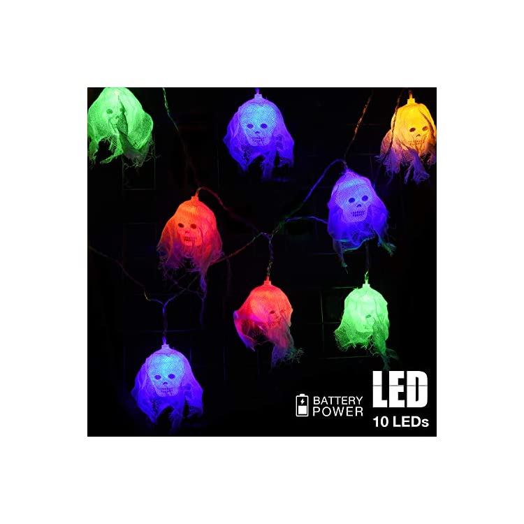 Skeleton-Halloween-Light-Decorations,-10-LEDs-White-Gauze-Skull-String-Lights-for-Halloween-Indoor/Outdoor-Home,-Holiday-Party-Decor---Battery-Operated-(Colorful)