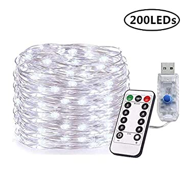 Plug-in-Fairy-Lights-72FT-200-LEDs-USB-Powered-String-Fairy-Lights-8-Modes-Copper-Wire-Starry-Twinkle-Lights-with-Remote-for-Wedding-Bedroom-Party-Garden-Indoor-Outdoor-Decoration-(Cool-White)