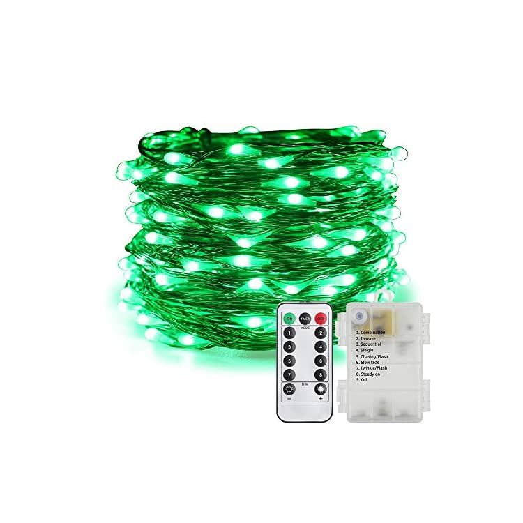 Battery-Operated-Fairy-Lights,-Waterproof-8-Modes-100-LED-String-Lights-33-ft-Copper-Wire-Twinkle-Firefly-Lights-with-Remote-Timer-for-Indoor-Outdoor-Decor-(Green)