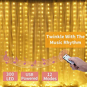 Curtain-Lights-Sound-Activated-Remote-Control-300-Led-Window-Lights-String-USB-Powered-Twinkle-Lights-for-Mom-Gifts-Room-Decor-Teen-Girls-Bedroom-Party-Birthday-Wedding-Indoor-Warm-White
