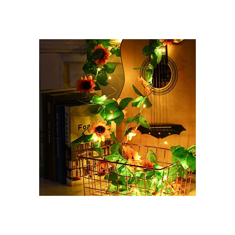 Artificial-Sunflower-String-Lights-Sunflower-Home-Decor-Sunflower-Battery-Operated-String-Fairy-Lights-for-Indoor-Bedroom-Wedding-Home-Garden-Decor,-Warm-White-(13-ft,-40-LEDs-and-20-Flowers)