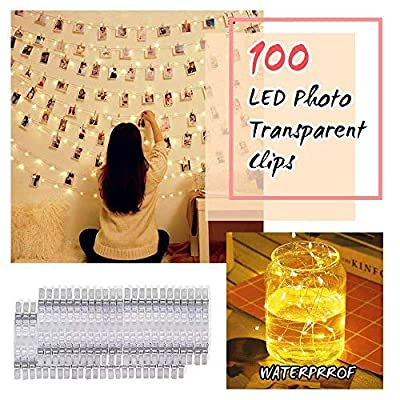 Upgrade-Version-100-LED-Photo-Clip-String-Lights-with-100-Clear-Clips---Fairy-String-Lights---8-Modes-USB/Battery-Powered-Waterproof-Decor-Lights-for-Birthday-Party-Bedroom-Wall-Decor-Wedding