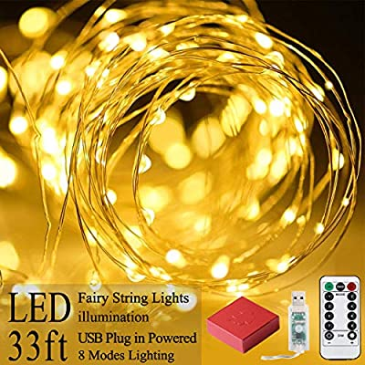 Warm-White-Rope-Lights-33ft-100-LED-Fairy-String-Lights-USB-Christmas-Lights-for-Indoor-Outdoor-Bedroom-Garden-Wedding-8-Modes-Remote-Control-Waterproof-Starry-Wire-Lights-Decoration