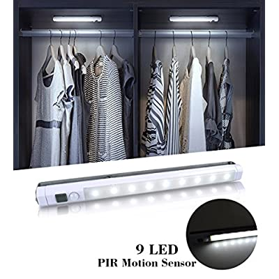 9-LED-Motion-Sensing-Closet-Lights,-2-Pack-DIY-Stick-on-Anywhere-Portable-9-LED-Wireless-Cabinet-Night/Stairs/Step-Light-Bar-with-360°-Rotated-Sensor-(Battery-Operated)--White