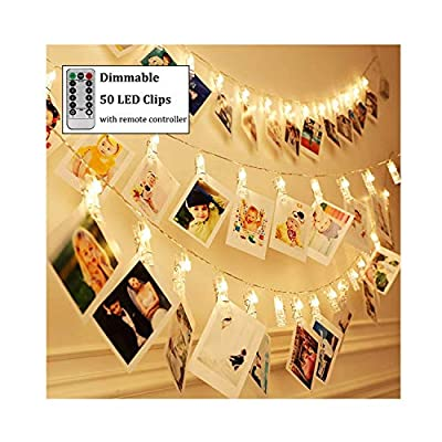 Dimmable-50-LED-Photo-Clips-String-Lights-Holder-with-Remote-&-Timer-Function,-Home/Party/Christmas-Decor-Lights-for-Hanging-Photos-Pictures,-Memos-and-Artwork,-Warm-White