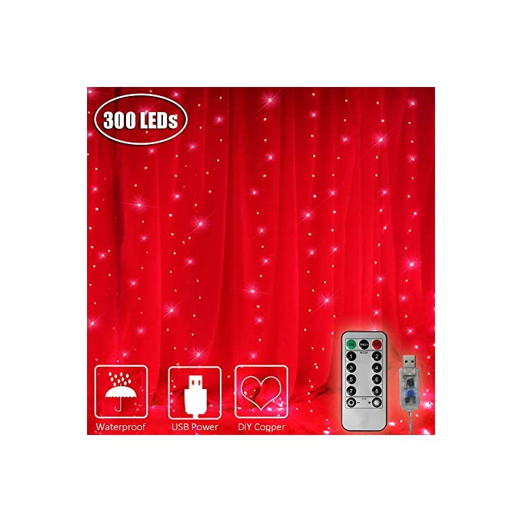 300-LED-Window-Curtain-Lights,-USB-Power-Icicle-Fairy-Lights-with-Remote-Timer-Waterproof-Indoor-String-Lights-for-Home,-Bedroom,-Garden,-Wall-Decoration-9.8ft-x-9.8ft(Red)