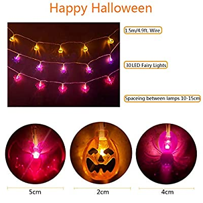 Halloween-String-Lights---30-LEDs-Orange-Pumpkins,-Purple-Bats,-Purple-Spider,-Battery-Operated-String-Lights-Indoor-&-Outdoor-Holiday-Decorations-–-Set-of-3