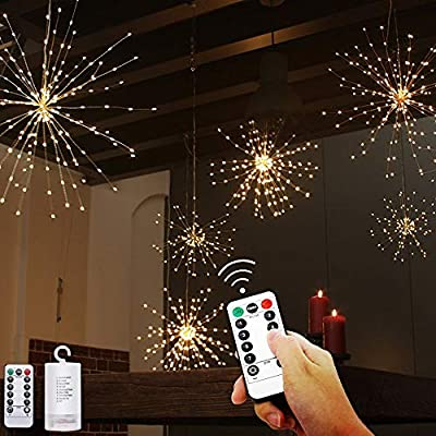 200-LED-Firework-Lights,-Dandelion-String-Lights/Hanging-Lights/Waterproof-Starburst-Light-Home-Outdoor-Decoration---8-Modes-Dimmable-Remote-Control-Fairy-Lights-(Battery-Operated)(2-Pack)