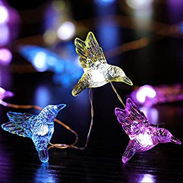 Hummingbird-Decorative-String-Lights,-13.85-Ft-40-Cool-White-LED-Weatherproof-Battery-Operated-8-Modes-Spring-Fairy-Lights-for-Holiday-Parties-Bedrooms-Weddings-Gardens-with-Remote-and-Timer