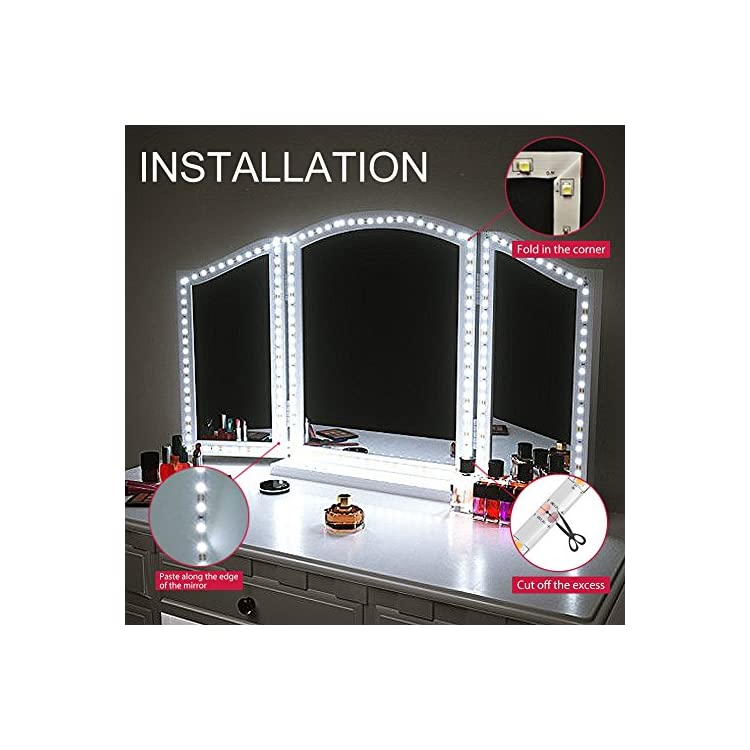 USB-Powered-Vanity-Mirror-Lights,-10ft-Flexible-LED-Strip-Light-with-ON/Off-Switch-and-Dimmer,-for-Makeup-Tables-and-Bathroom-Mirror,-DIY-Decor--Cool-White,-6000K