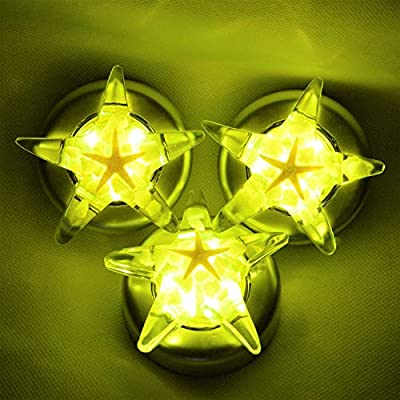 Stick-On-Star-Shape-Tap-Touch-Battery-Powered-Lamp,Handmade-Amber-Resin-Art-Push-Night-Light,-Starfish-Luminous-Stone,for-Kid,Easy-Found-in-Darkness,Cordless,3-Pack,Battery-Not-Included